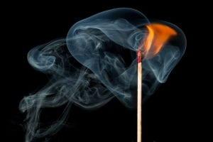 fire match with smoke