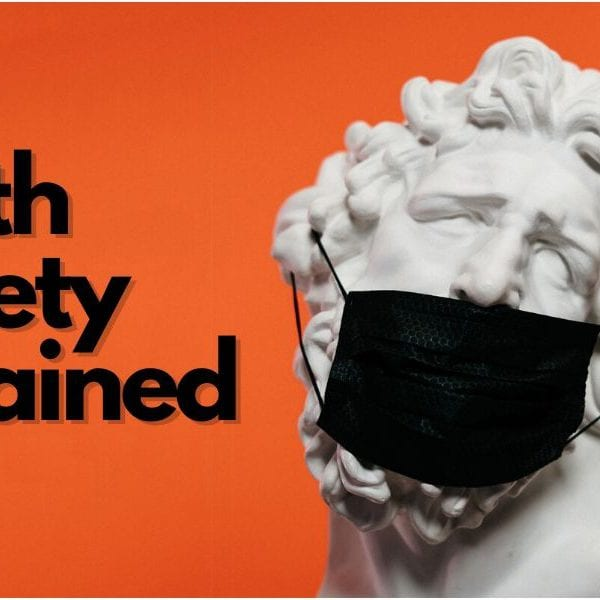 statue wearing a mask with text health anxiety explained