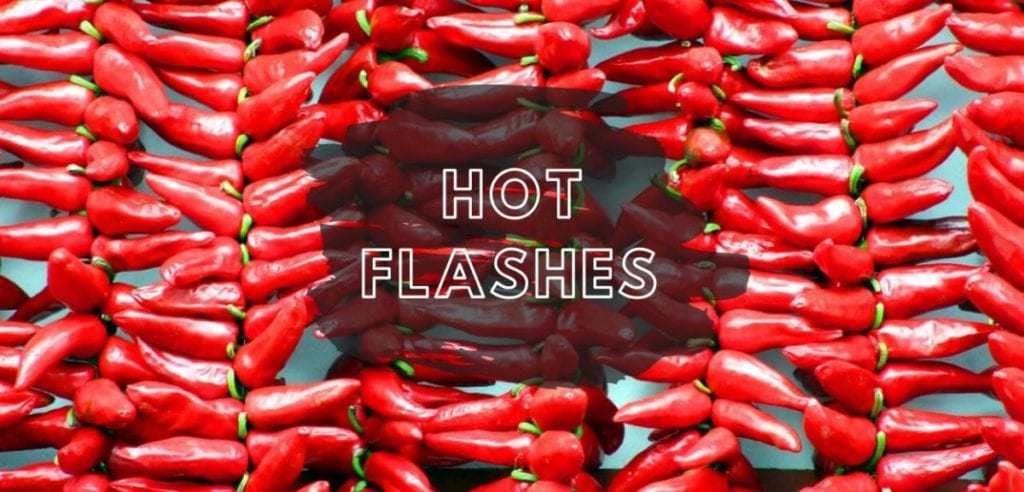 red chilli peppers with text hot flash