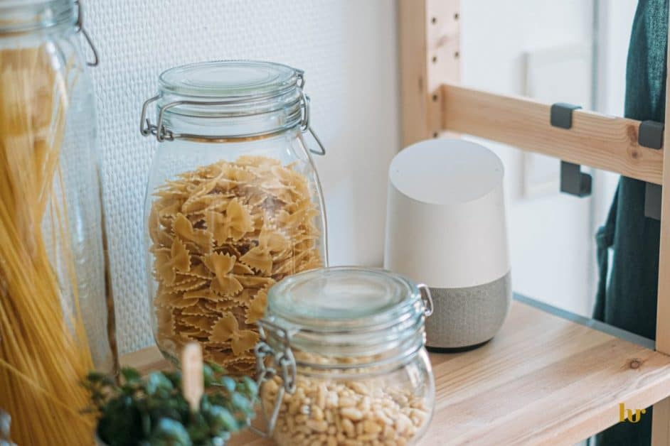 pasta and pine nuts in glass jar