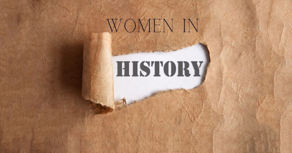 brown ripped paper saying women in history