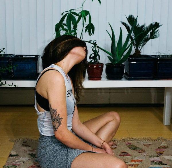woman sat on the floor