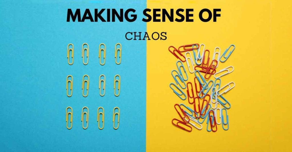 paperclips on blue and yellow background
