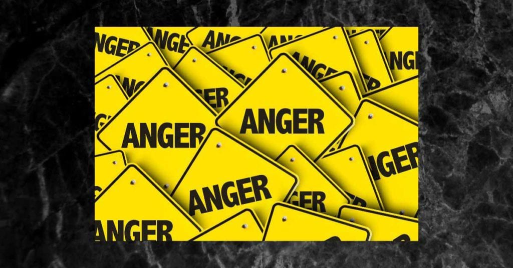 anger on yellow and black background