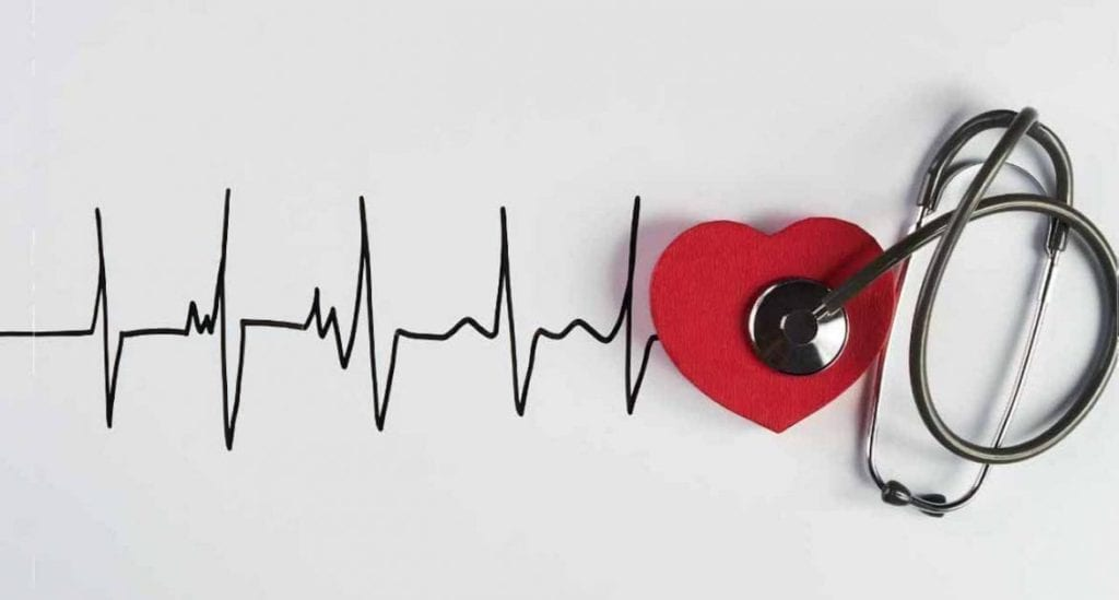 heartbeat and heart with stethoscope
