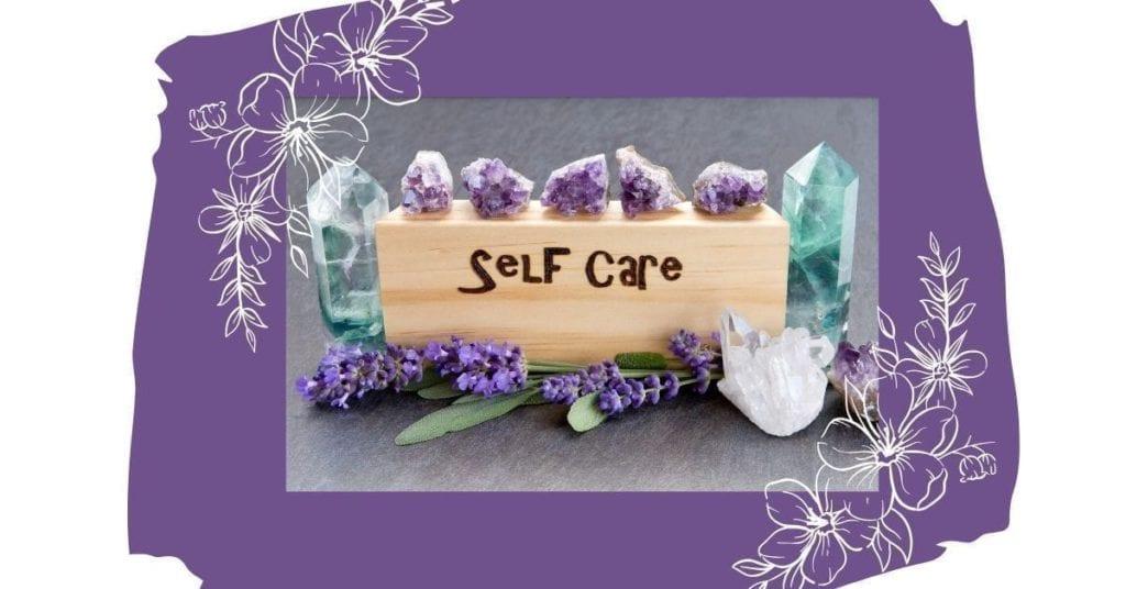 self-care on purple background