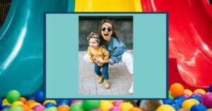 woman and child with a background of slides