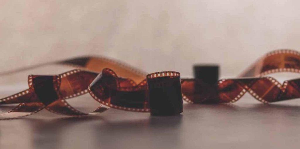film roll on grey background