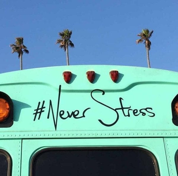 never stress on green buss and palm trees