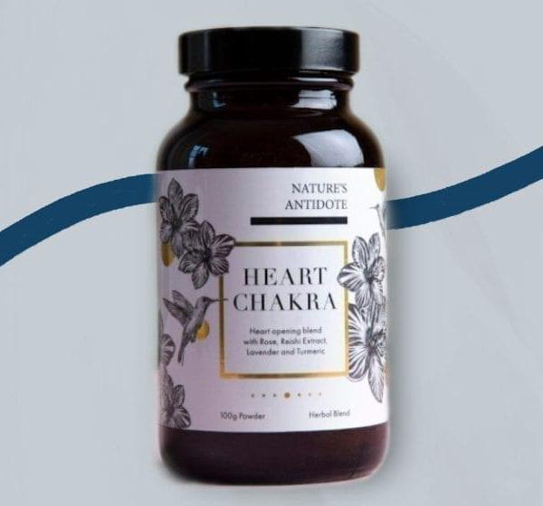 natures antidote heart chakra jar on light background
