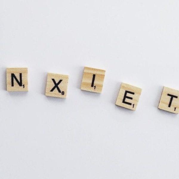 anxiety written on white background