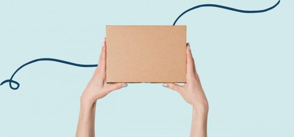 hands holding cardboard box un light blur background