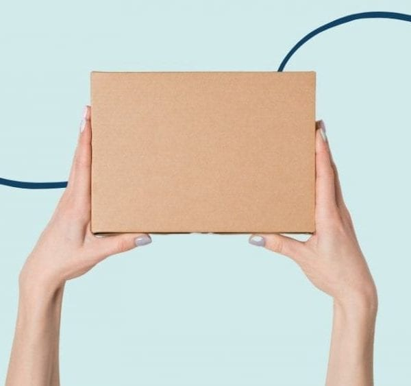 hands holding cardboard box un light blur background