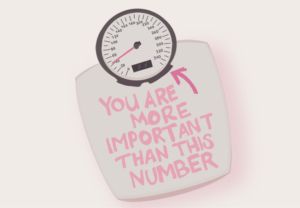 scale with pink text