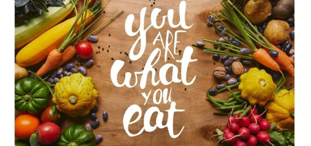 what you eat written in white script with fruit and vegetables