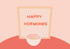 illustration of happy hormones and a bowl