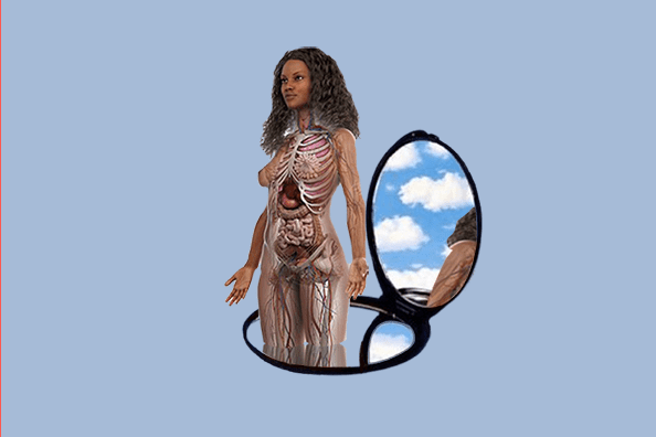 woman emerging from mirror showing our anatomy